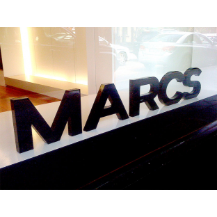 Marcs shopfrontage 3D lettering internal retail sign