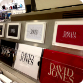 David Jones acrylic holders point of sale retail sigange